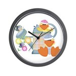 Cute Garden Time Baby Ducks Wall Clock