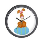Bunny Sitting on Easter Egg Wall Clock