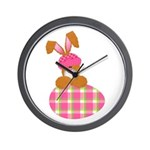 Cute Bunny With Plaid Easter Wall Clock