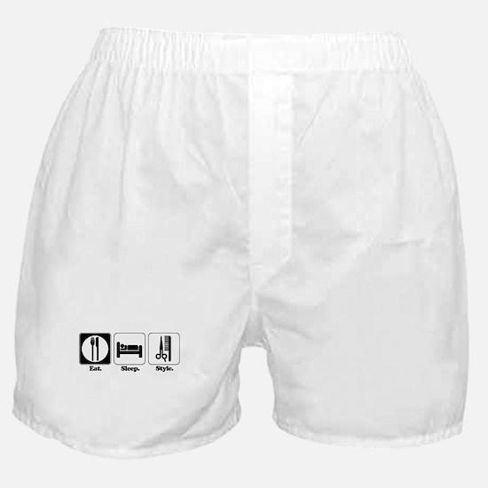 Eat. Sleep. Style. (Hair) Boxer Shorts