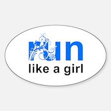 run like a girl Sticker (Oval)