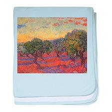 Van Gogh Olive Grove Orange Sky baby blanket