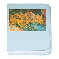 Van Gogh Four Cut Sunflowers baby blanket