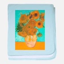 Van Gogh Vase with Sunflowers baby blanket