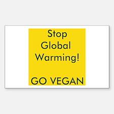 Stop Global Warming! Go Vegan Decal