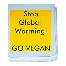 Stop Global Warming! Go Vegan baby blanket