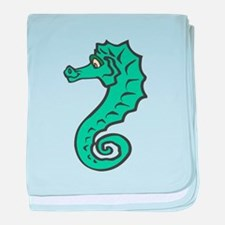 Silly Teal Seahorse Infant Blanket
