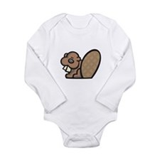 Cute Little Beaver Long Sleeve Infant Bodysuit