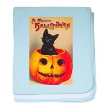 Vintage Halloween, Cute Black Cat baby blanket