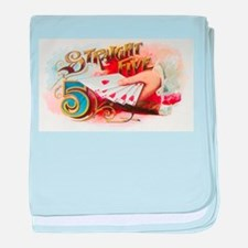 Vintage Cigar Label, Straight Five baby blanket