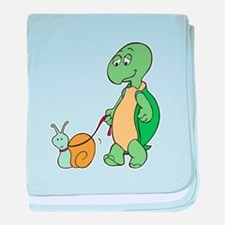 Turtle With Pet Snail Infant Blanket