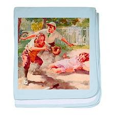 Vintage Children Play Baseball baby blanket