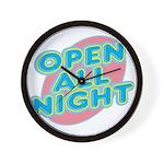 Open All Night Neon Sign Grap Wall Clock