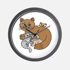 Mommy Cat and Kittens Wall Clock