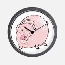 Silly Pot Belly Pig Wall Clock