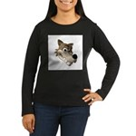 Funny Wolf Face Women's Long Sleeve Dark T-Shirt