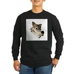 Funny Wolf Face Long Sleeve Dark T-Shirt