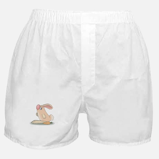 Cute Pink Bunny and Carrot Boxer Shorts