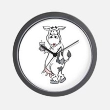 Silly Cow Drinking Milk Wall Clock