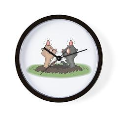 Funny Moles Bumping Heads Wall Clock