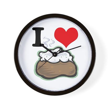 I Heart (Love) Baked Potatoes Wall Clock
