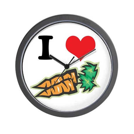 I Heart (Love) Carrots Wall Clock