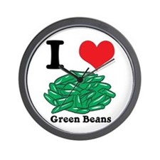 I Heart (Love) Green Beans Wall Clock