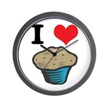 I Heart (Love) Muffins Wall Clock