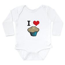 I Heart (Love) Muffins Long Sleeve Infant Bodysuit