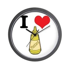 I Heart (Love) Mustard Wall Clock
