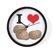I Heart (Love) Potatoes Wall Clock