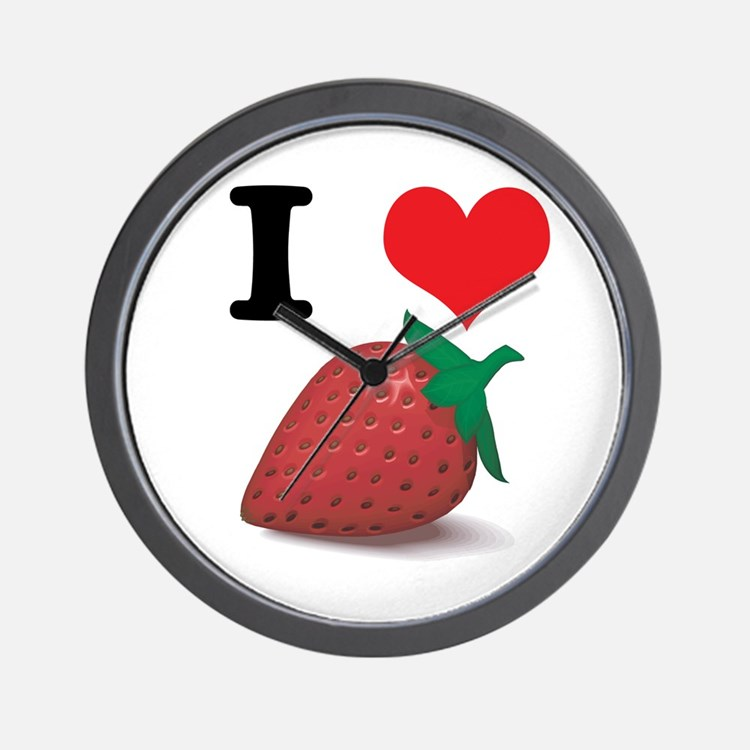 I Heart (Love) Strawberries Wall Clock
