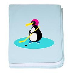 Cute Hockey Playing Penguin Infant Blanket
