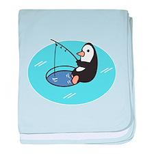 Cute Ice Fishing Penguin Infant Blanket