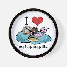 I Heart (Love) My Happy Pills Wall Clock