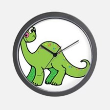 Cute Green Brontosaurus Dinos Wall Clock