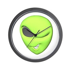 Funny Winking Alien Wall Clock