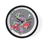Alien on Hovercraft Wall Clock