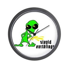 Stupid Earthlings Pissing Ali Wall Clock