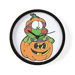 Silly Froggy in Pumpkin Wall Clock