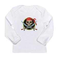 Pirate Skull and Swords Long Sleeve Infant T-Shirt