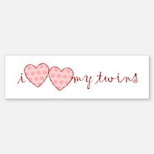 """i heart heart my twins"" Bumper Bumper Bumper Sticker"