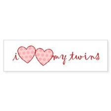 """i heart heart my twins"" Bumper Bumper Sticker"