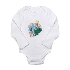 Pretty Mermaid Scene Long Sleeve Infant Bodysuit