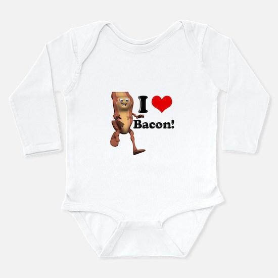 I Heart (Love) Bacon Long Sleeve Infant Bodysuit