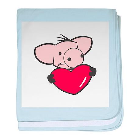 Pig Valentine/Heart Infant Blanket