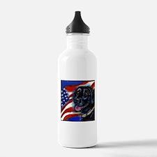 Black Labrador American Flag Water Bottle 1.0 Stai