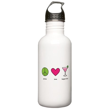 peace. love. happy hour Stainless Water Bottle 1.0