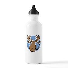 Cartoon Moose Blue Water Bottle