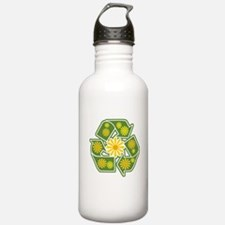Floral Recycle Sign Water Bottle